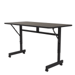 Correll FT2448M 01 Flip Top Table - Walnut Melamine Top, Black Frame, 24x48""