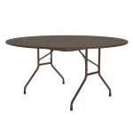 "Correll PC60P 01 60"" Round Solid Plywood Core Folding Table w/ Premium Top, Walnut"