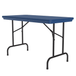 "Correll R2448 27 Folding Seminar Table w/ Blow-Molded Top, 24 x 48"", Blue"