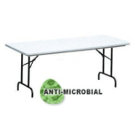 "Correll R3072-AM23 Anti-Microbial Blow-Molded Table, 29"" H, 30 x 72"", Gray Granite/Black"