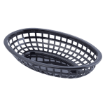 "Tablecraft 1074BK Classic Basket, 9 3/8 x 6 x 1 7/8"", Polyethylene, Oval, Black"