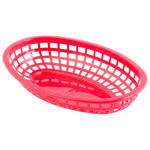 "Tablecraft 1074R Classic Basket, 9 3/8"" X 6"" X 1 7/8 in, Oval, Poly, Red"