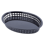 "Tablecraft 1086BK Texas Platter Basket, 12.75 x 9.5 x 1.5"" Oval, Black"