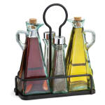 Tablecraft 61517NBK Marbella 5 Piece Oil & Vinegar Set w/ Stainless Steel Tops