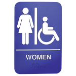 "Tablecraft 695630 6 x 9"" Sign, Women / Accessible w/ Handicapped Symbol, Braille"