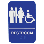 "Tablecraft 695650 Women/Men/Handicap Restroom Sign - 6"" x 9"", Plastic, Blue"