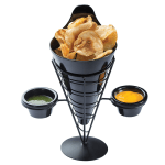 Tablecraft ACR259 Vertigo Collection Appetizer Cone w/ 2 Ramekins, 5 x 9 in, Black Metal