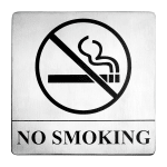 "Tablecraft B14 Stainless Steel Sign, 5 x 5"", No Smoking"