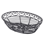 "Tablecraft BK27409 Oval Mediterranean Collection Basket, 9 L x 6.25 W x 2.25""H, Black Metal"