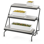Tablecraft CW40309C 3 Tier Stand w/ Half-Long Cooling Plates, Black