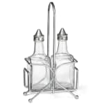 Tablecraft H600N Oil & Vinegar Set, 6 oz, SS Top, Chrome Plated Rack