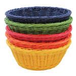 "Tablecraft HM1175A Round Basket, 8 1/4 x 3 1/4"", Assorted Color Polypropylene Cord"