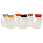 Tablecraft PP48A 48-oz Pour Dispenser Kit w/ (6) Colors - Polypropylene, Clear