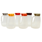 Tablecraft PP64A 64 oz Pour Dispenser Kit w/ (6) Colors - Polypropylene, Clear