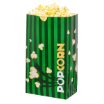 Gold Medal 2232 130 oz Green Disposable Popcorn Bags, Laminated, 500/Case