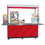 """Gold Medal 2950 Kiosk-Type Food Cart w/ Cover & Enclosed Cabinet, 96""""L x 36""""W x 80""""H, Stainless"""