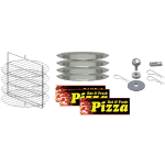 "Gold Medal 5553-000 19"" Round 4 Tier Rack w/ (4) Pans for 5550 00 & 5550 01 Merchandisers"