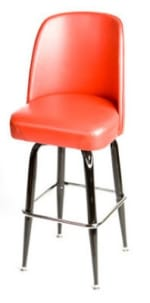 Oak Street SL2133-RED Swivel Bar Stool w/ Square Single Chrome Ring & Red Bucket Seat