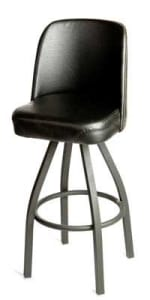 Oak Street SL2136-BLK Swivel Bar Stool w/ Single Ring & Black Vinyl Bucket Seat