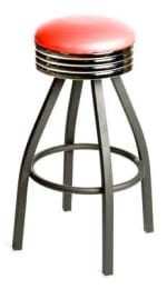 Oak Street SL2137-RED Swivel Bar Stool w/ Tapered Frame & Red Button Top Round Seat