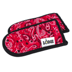 Lodge HHBAN41 Hot Handle Mitt Set of 2 - Red Bandana on Black