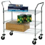 Focus FFC24363CH 3-Level Chrome Plated Utility Cart w/ Flat Ledges