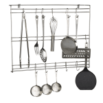 "Focus FUR1824CHSS 24"" Wall-Mount Utensil Rack w/ (20) Hooks, Stainless Steel"