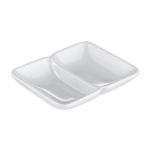 "GET 037-W Rectangular Sauce Dish w/ (2) 1 oz Compartments, 4"" x 3"", Melamine"