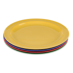 "GET DP-910-MIX (4) 10"" Round Dinner Plate, Melamine, Multi-Colored"