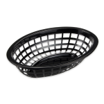 "GET OB-734-BK Oval Bread & Bun Basket, 8"" x 5.5"", Polypropylene, Black"