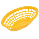 "GET OB-734-Y Oval Bread & Bun Basket, 8"" x 5.5"", Polypropylene, Yellow"