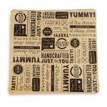 "GET P-GT-1212-BR 12"" Square Sandwich/Deli Wrap Paper - Black Typography, Brown"