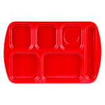 "GET TR-151-R School Cafeteria Tray w/ (6) Compartments, 15.5"" x 10"", Melamine, Red"