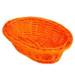 "GET WB-1503-OR Oval Bread & Bun Basket, 9"" x 6.75"", Polypropylene, Orange"
