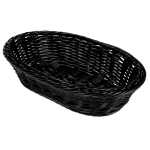 "GET WB-1505-BK Oval Bread & Bun Basket, 11.75"" x 8"", Polypropylene, Black"