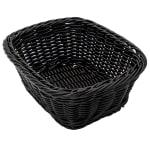 "GET WB-1506-BK Oval Bread & Bun Basket, 9.5"" x 7.75"", Polypropylene, Black"