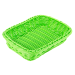 "GET WB-1508-G Rectangular Bread & Bun Basket, 11.5"" x 8.5"", Polypropylene, Green"