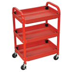Luxor Furniture ATC332 3-Level Mechanics Utility Cart - Metal Frame, Plastic Shelves, Red