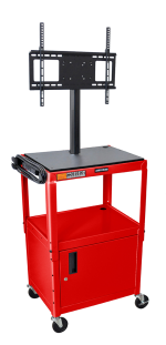 "Luxor Furniture AVJ42C-LCD-RD Metal Cart w/ 46"" Flat Panel Display Mount & Locking Cabinet, Red"