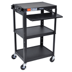 Luxor Furniture AVJ42KB 3-Level Computer Cart w/ 15-ft Cord