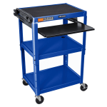 Luxor Furniture AVJ42KB-RB 3-Level Computer Cart w/ 15-ft Cord