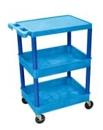 Luxor Furniture BUSTC211BU 3-Level Polymer Utility Cart w/ 300-lb Capacity, Raised Ledges