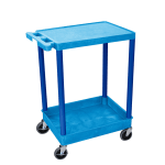 "Luxor Furniture BUSTC21BU Multipurpose Cart w/ Tub & Flat Shelf, 24x18x35.5"", Polyethylene, Blue"