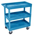 Luxor Furniture EC111HD-BU 3-Level Polymer Utility Cart w/ 500-lb Capacity, Raised Ledges