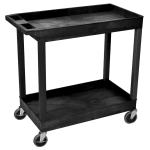 Luxor Furniture EC11-B 2 Level Polymer Utility Cart w/ 400 lb Capacity, Raised Ledges
