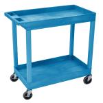 Luxor Furniture EC11-BU 2-Level Polymer Utility Cart w/ 400-lb Capacity, Raised Ledges
