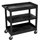 Luxor Furniture EC121-B 3-Level Polymer Utility Cart w/ 400-lb Capacity - Raised Ledges, Black