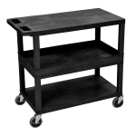 Luxor Furniture EC212-B 3 Level Polymer Utility Cart w/ 400 lb Capacity - Raised Ledges, Black