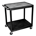 Luxor Furniture HE38-B 2-Level Polymer Utility Cart w/ 400-lb Capacity - Raised Ledges, Black