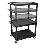 Luxor Furniture LPLDUO-B 3 Level A/V Utility Cart w/ 400 lb Capacity - Adjustable Height, Plastic, Black
